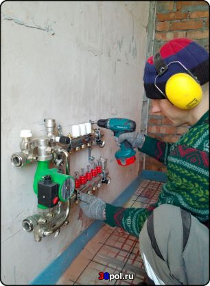 Монтаж коллектора тёплого водяного пола и смесительного узла Valtec