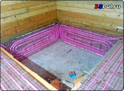 Тёплый водяной пол в бане